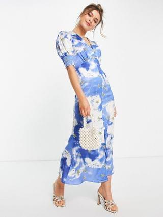 WOMEN Never Fully Dressed puff sleeve button midi dress with gold stars in blue sky print