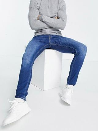 New Look skinny jeans with rips in mid blue wash