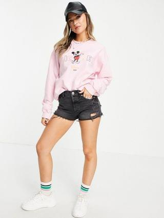 WOMEN Daisy Street oversized sweatshirt with Mickey Mouse print in vintage wash