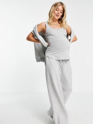 WOMEN Missguided Maternity set tank with mama to be slogan in gray heather