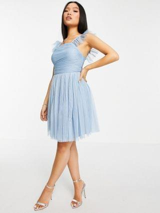 WOMEN Anaya with Love Petite frill sleeve ruched mini prom dress in pale blue