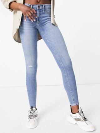 WOMEN River Island Tall Molly washed skinny jeans in mid blue