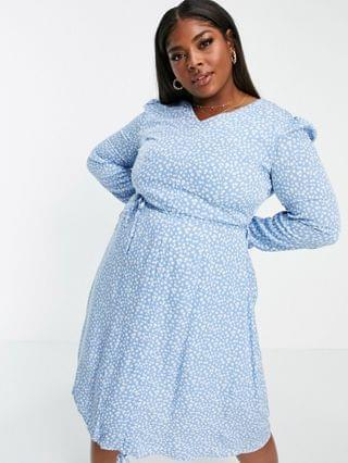 WOMEN Daisy Street Plus long sleeve midi dress with ruched front in floral ditsy print
