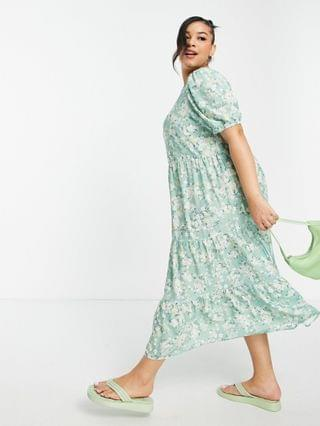 WOMEN In The Style Plus x Stacey Solomon tiered ruffle smock midi dress in green floral print