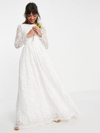 WOMEN EDITION Odette lace long sleeve wedding dress with open back