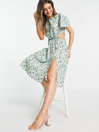 WOMEN In The Style x Olivia Bowen cut out side midi dress with thigh split in sage floral print