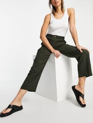 WOMEN Whistles button front polo knitted sweater and casual pants set in khaki