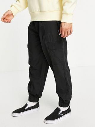 WOMEN COLLUSION nylon cargo pants with pockets in black