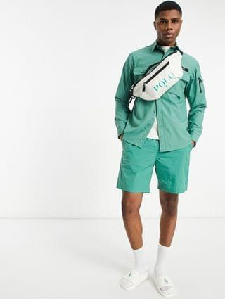Polo Ralph Lauren x exclusive collab utility overshirt in green with backprint pony logo