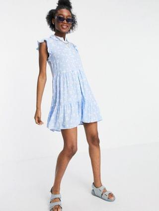 WOMEN Stradivarius sleeveless shirt dress in blue floral