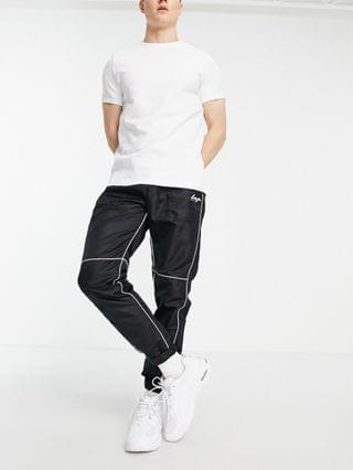 Liquor N Poker nylon sweatpants in black with white piping