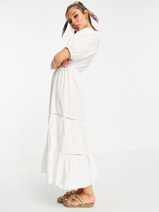 WOMEN shirred waist lace insert maxi dress in white