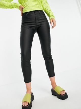 WOMEN Topshop Petite black coated Jamie jeans