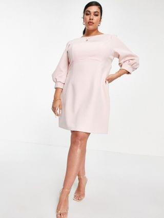 WOMEN Ever New Curve long sleeve bow back mini dress in blush