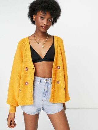 WOMEN Daisy Street oversized cardigan with daisy embroidery in knit set