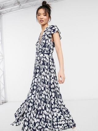 WOMEN French Connection Islanna printed midi dress in blue and white
