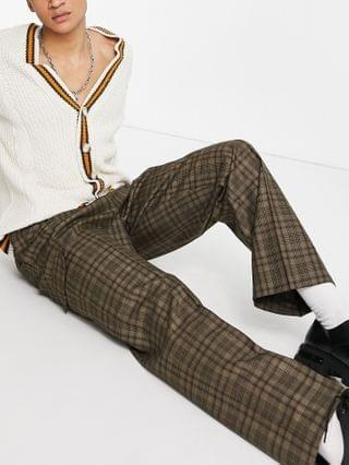 MEN high waist wide leg smart pants in brown wool check and cargo pockets