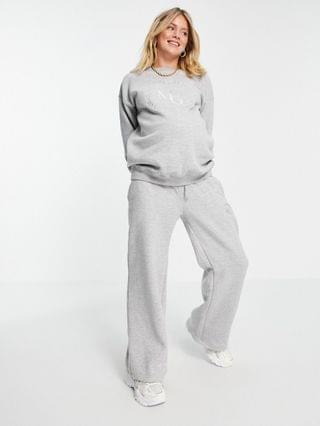 WOMEN Missguided Maternity matching sweatshirt with 'Mama To Be' slogan in gray heather