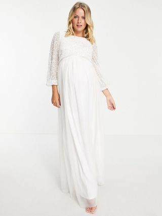 WOMEN Maya Maternity embellished top long sleeve maxi dress in white