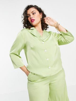 WOMEN Fashion Union Plus relaxed retro matching shirt in lime satin