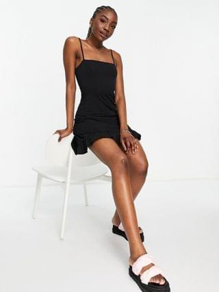 WOMEN Tall strappy sundress with pep hem in black