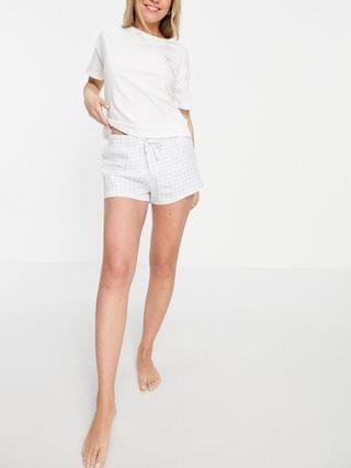 WOMEN New Look tee & short pajama set in gingham