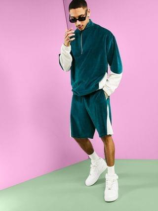oversized velour sweatshirt with collar & colour block in pastel blues - part of a set