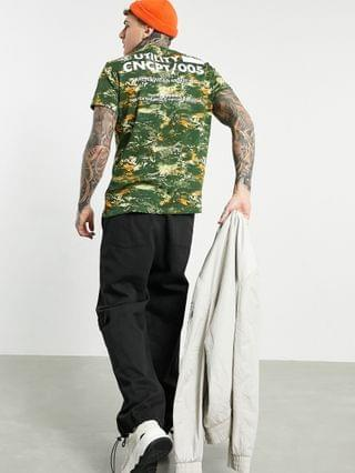 Bershka t-shirt with chest and back print in camo