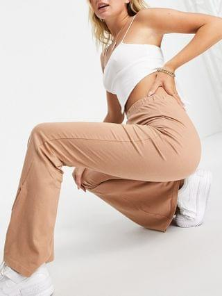 WOMEN Missguided basic flare pant in brown