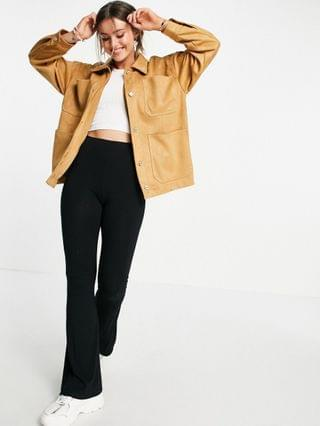 WOMEN Pull&Bear faux suede overshirt shacket in camel