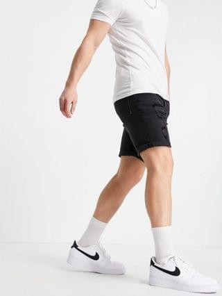 MEN stretch slim denim shorts in washed black with heavy rips
