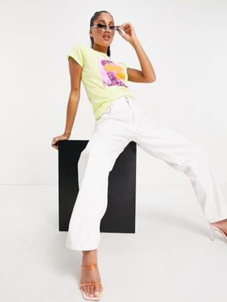 WOMEN ASYOU neat fit T-shirt with graphic in neon lime yellow