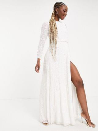 WOMEN Maya Tall embellished long sleeve maxi dress with slit in white