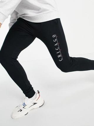super skinny sweatpants with Chicago print in black