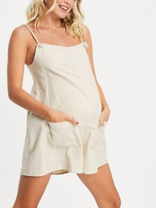 WOMEN maternity rope pocket overall romper in stone