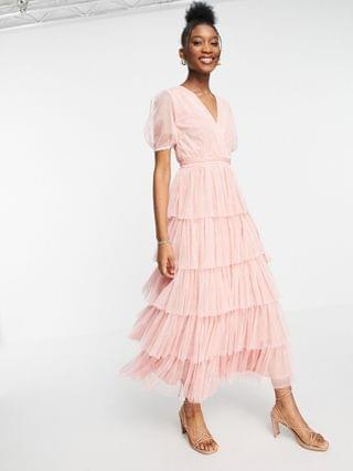 WOMEN Anaya With Love puff sleeve midaxi dress with tiered skirt in pink