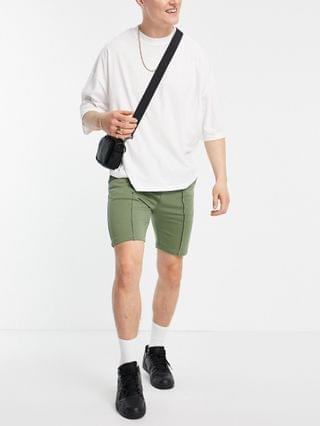 tapered jersey shorts with pin tuck in olive green - part of a set