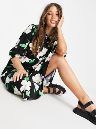 WOMEN New Look collar detail smock shirt dress in black ditsy floral
