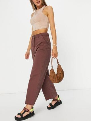WOMEN Native Youth relaxed wide leg jeans in frayed chocolate set