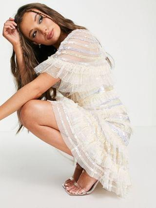 WOMEN Needle & Thread Ariana mini dress with striped sequins and ruffles in ivory
