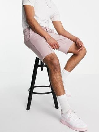 tapered jersey shorts with pin tucks in dusty pink - part of a set
