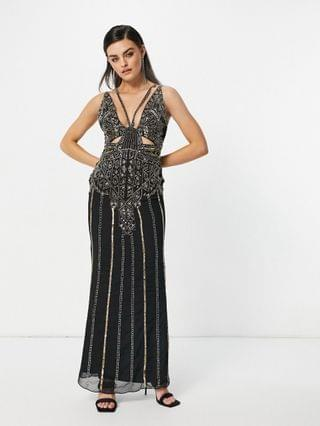 WOMEN cami embellished maxi dress in gold and black