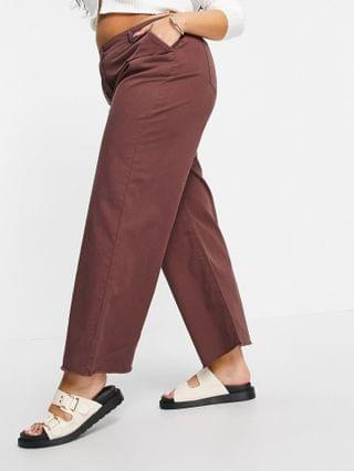 WOMEN Native Youth Plus relaxed wide leg jeans in frayed chocolate