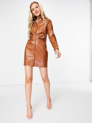 WOMEN In The Style x Naomi Genes leather look ruched detail button front mini dress in burgundy