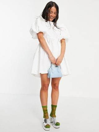 WOMEN Sister Jane mini dress with bib collar in white with pockets