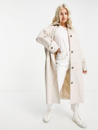 WOMEN Petite longline trench coat in stone