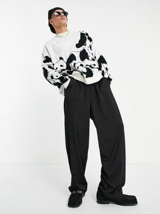 knitted oversized sweater with panda design