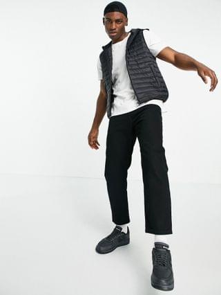 quilted liner vest with hood in black
