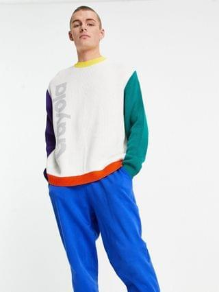 Crayola jacquard knit sweater with multi color sleeves