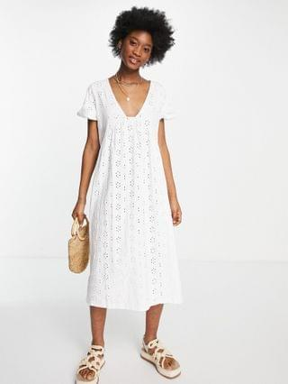 WOMEN broderie v neck midi dress with empire seam detail in white